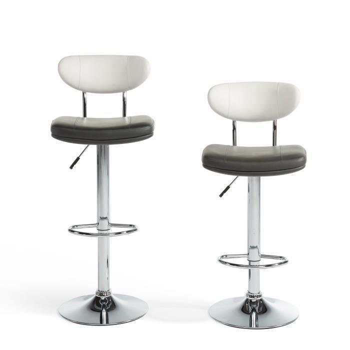 betty lot de 2 tabourets de bar r glables en simili gris et blanc 345604. Black Bedroom Furniture Sets. Home Design Ideas