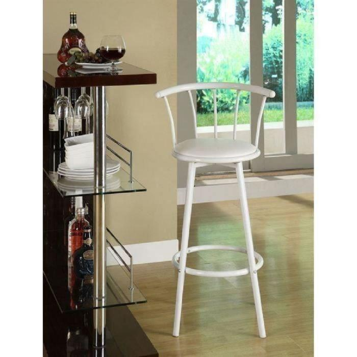 bistrot lot de 2 tabourets de bar avec assise pivotante blanc 318253. Black Bedroom Furniture Sets. Home Design Ideas