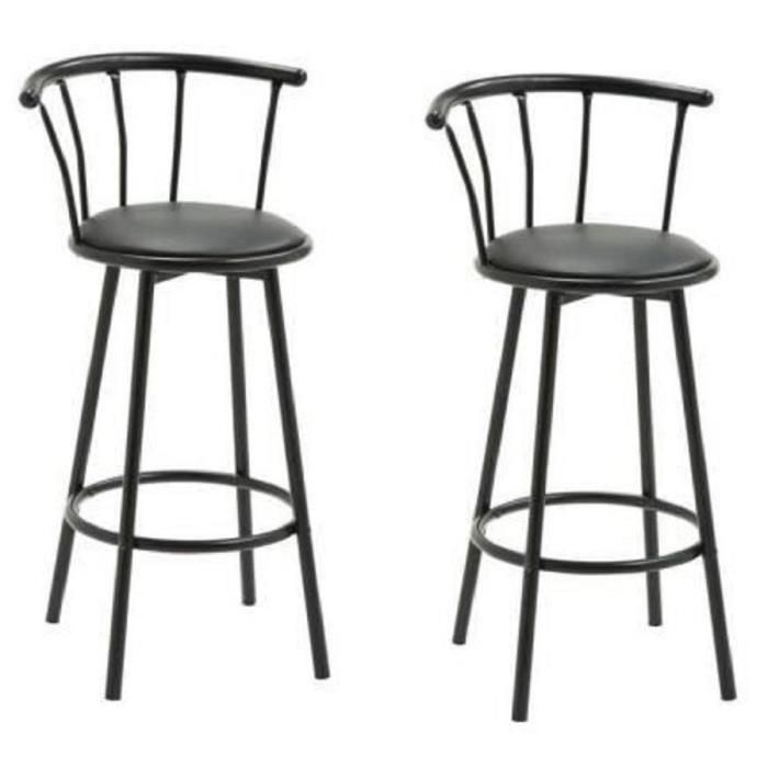 bistrot lot de 2 tabourets de bar avec assise pivotante. Black Bedroom Furniture Sets. Home Design Ideas