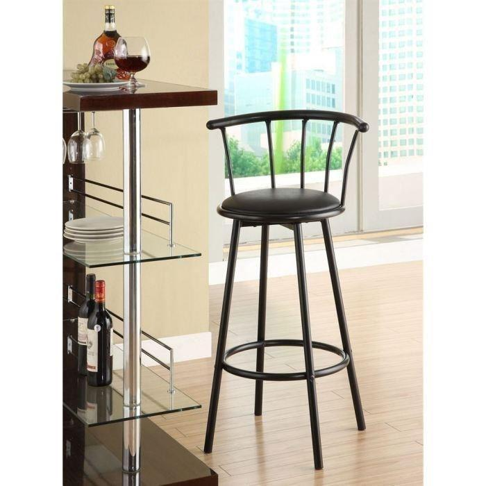 bistrot lot de 2 tabourets de bar avec assise pivotante noir 318254. Black Bedroom Furniture Sets. Home Design Ideas