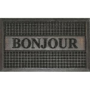aucune tapis d 39 entree 45x75cm bonjour noir 256682. Black Bedroom Furniture Sets. Home Design Ideas