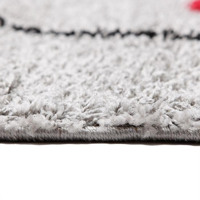 finlandek tapis de salon alavus 120x160 cm gris et rouge. Black Bedroom Furniture Sets. Home Design Ideas