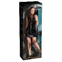Tenues Sexy Black Level - Robe en Vinyle avec Zip - L Noir