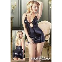 Tenues Sexy Cottelli - Robe courte en matiere effet mouille - Noir - Taille L