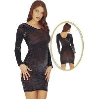 Tenues Sexy Cottelli - Robe noire moulante reflets argent - Taille ML