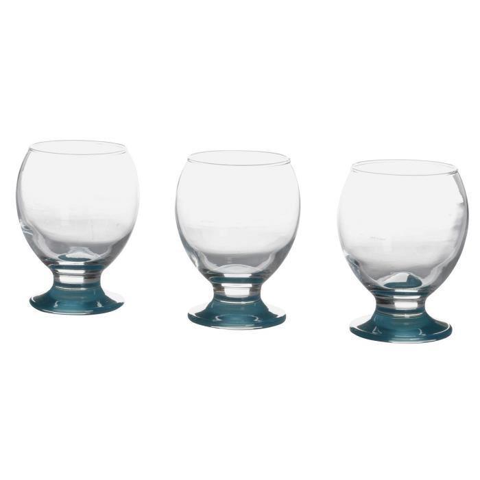 Aucune lot de 3 verres a eau bleu d6 5 x h 10cm 259022 for Verre sans pied