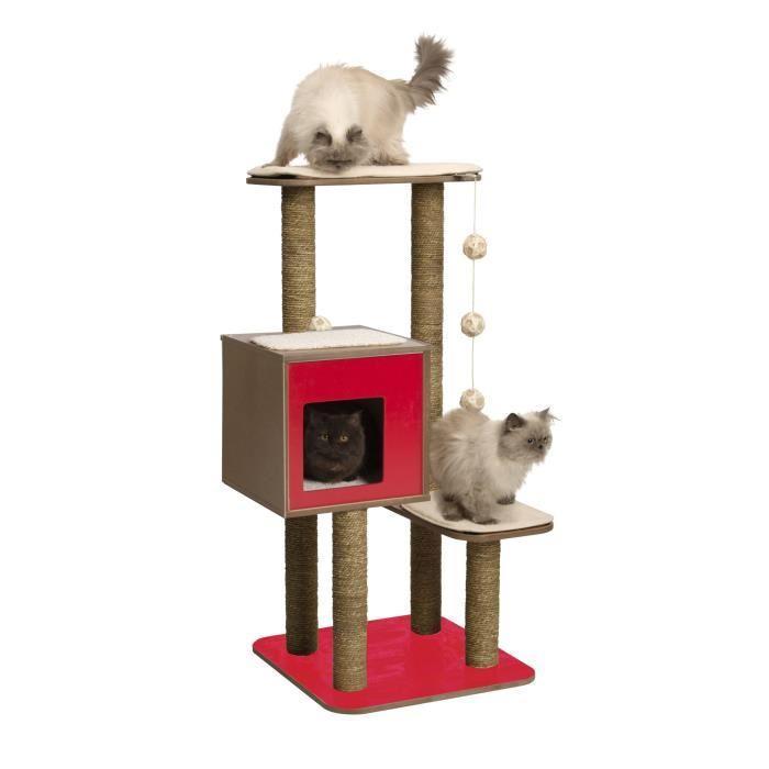 VESPER Arbre a chat double rouge 685 x 56 x 120 cm