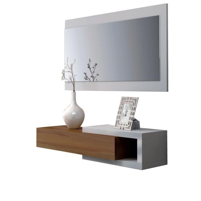 aucune noon console d 39 entree avec miroir blanc et noyer. Black Bedroom Furniture Sets. Home Design Ideas
