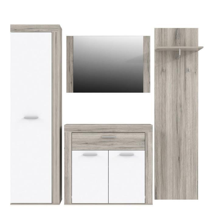 aucune zumba vestiaire 219cm decor chene sable et blanc 286901. Black Bedroom Furniture Sets. Home Design Ideas