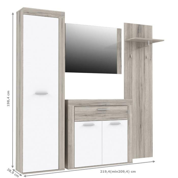 aucune zumba vestiaire 219cm decor chene sable et blanc. Black Bedroom Furniture Sets. Home Design Ideas