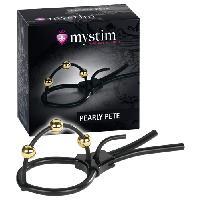 Vibros High Tech LRDP - Bracelet pour penis Pearly Pete - Noir/Or - Taille 15cm - Mystim