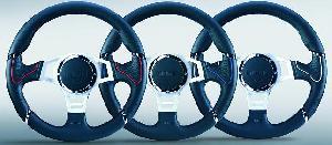 Volants Momo - Volant -MILLENIUM SPORT-Diametre 35cm - Cuir Noir / Rouge - 6 trous 35mm